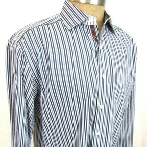 ROBERT GRAHAM Large Button Shirt Flip Cuff Striped